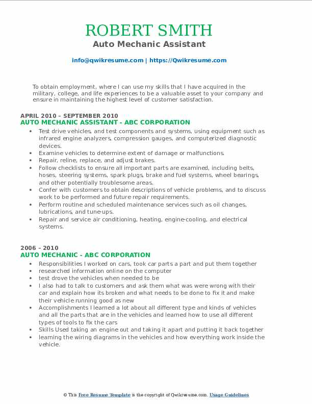 Auto Mechanic Assistant Resume Sample