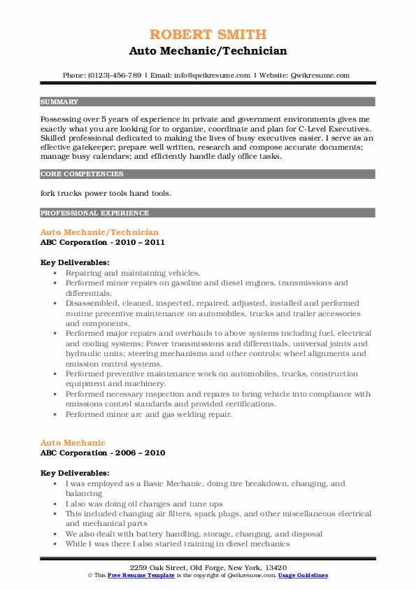 Auto Mechanic Resume Samples | QwikResume