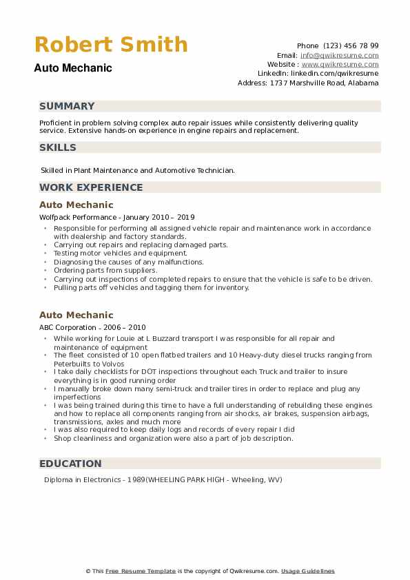 Auto Mechanic Resume example