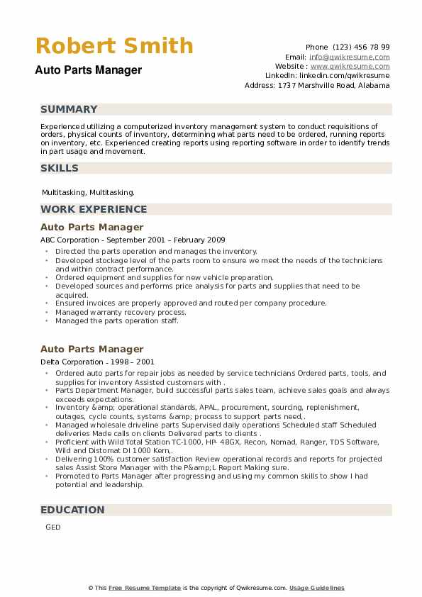 Auto Parts Manager Resume example