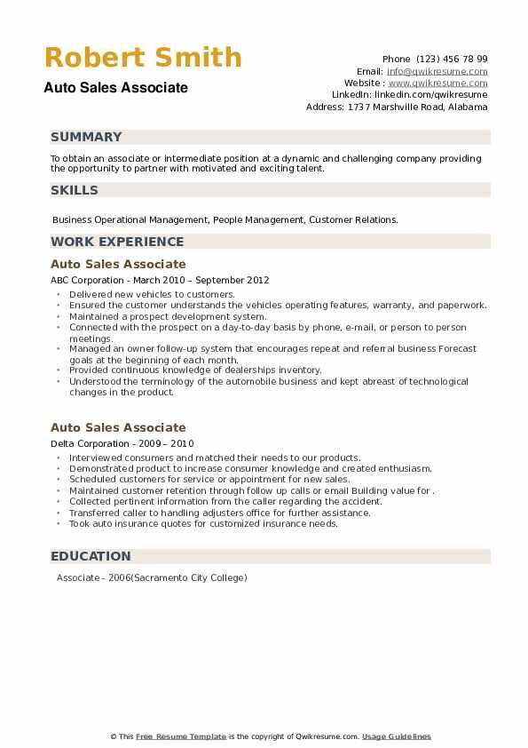 Auto Sales Associate Resume example