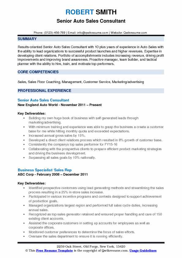 Senior Auto Sales Consultant Resume Example