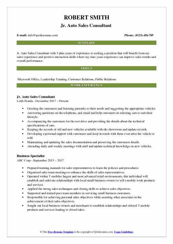 Jr. Auto Sales Consultant  Resume Sample