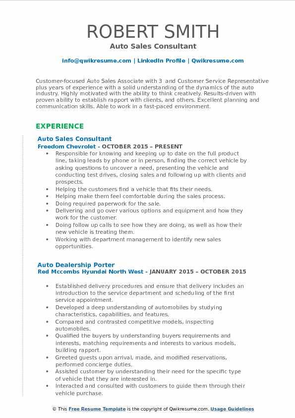 Auto Sales Consultant Resume Sample