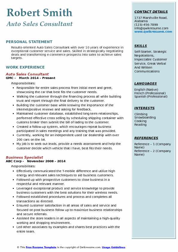 auto sales consultant resume samples