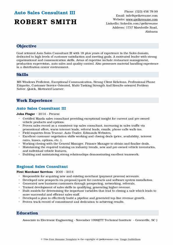 Auto Sales Consultant III Resume Example