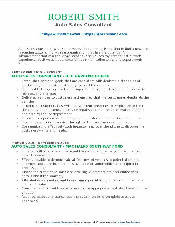 Auto Sales Consultant Resume Format