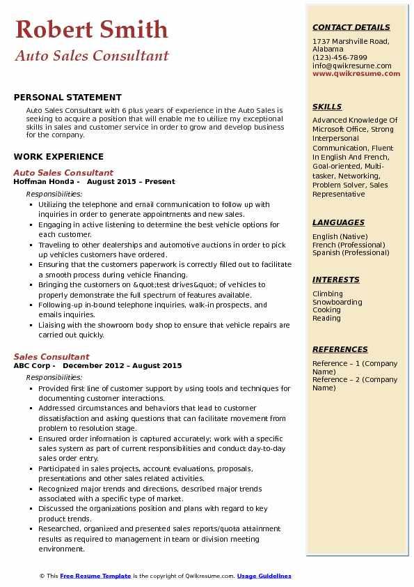 Auto Sales Consultant Resume Example