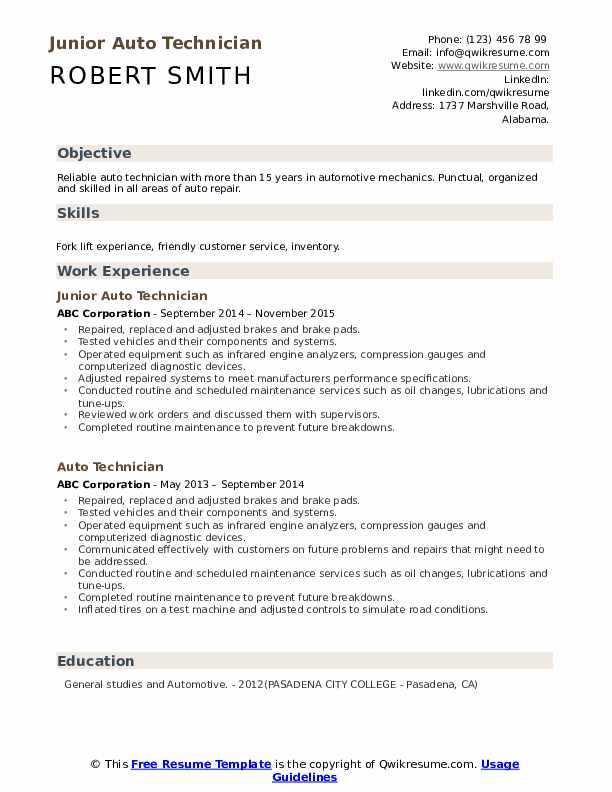 Junior Auto Technician Resume Example
