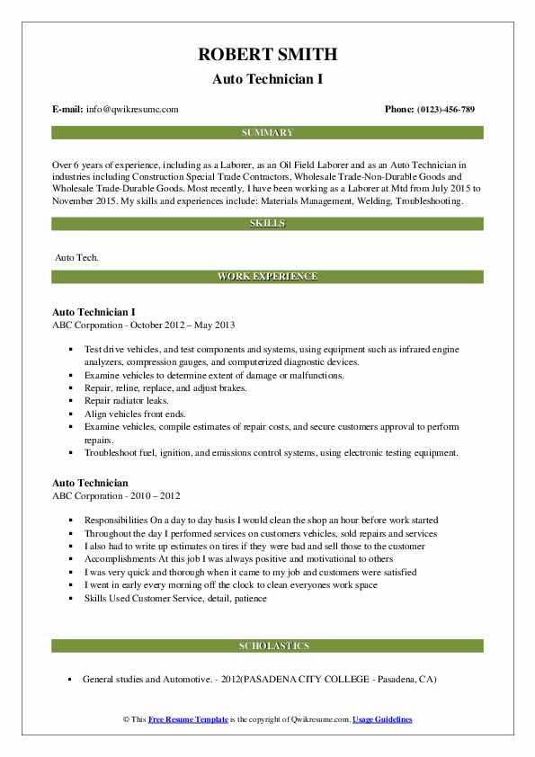 Auto Technician I Resume Format