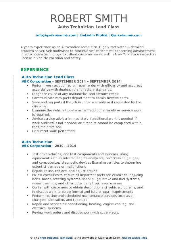 Auto Technician Lead Class Resume Model