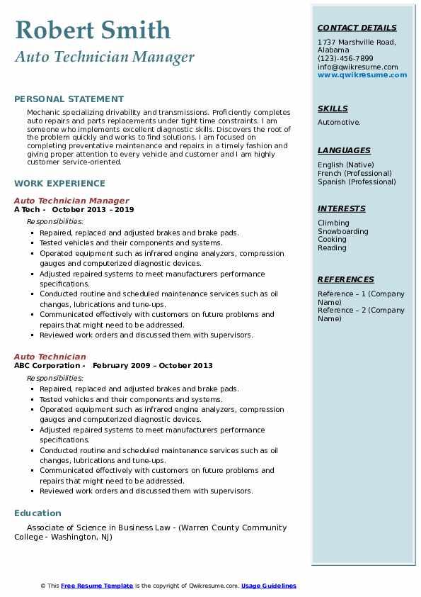 Auto Technician Manager Resume Model