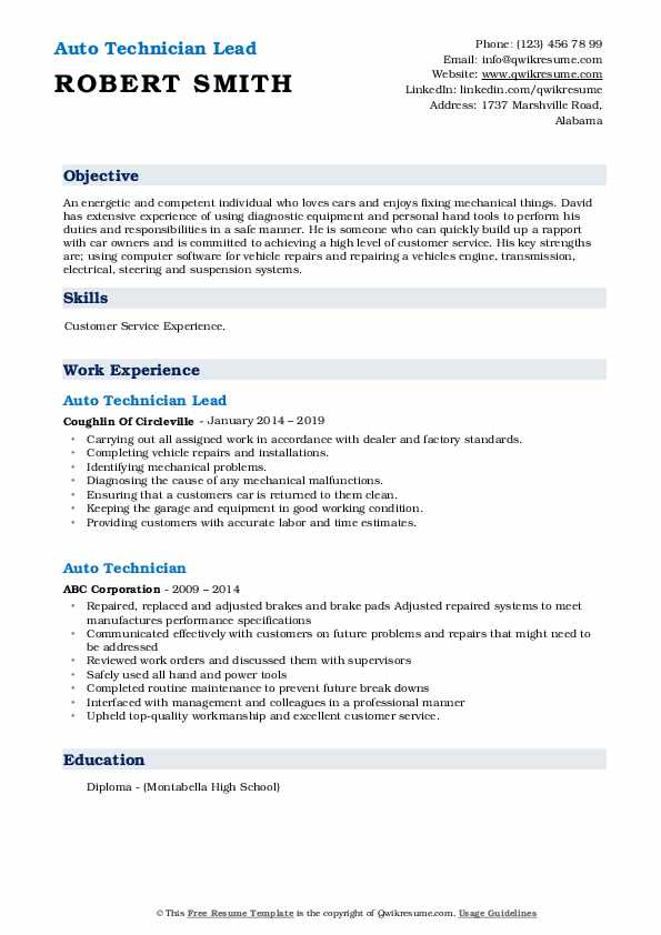 Auto Technician Lead Resume Template