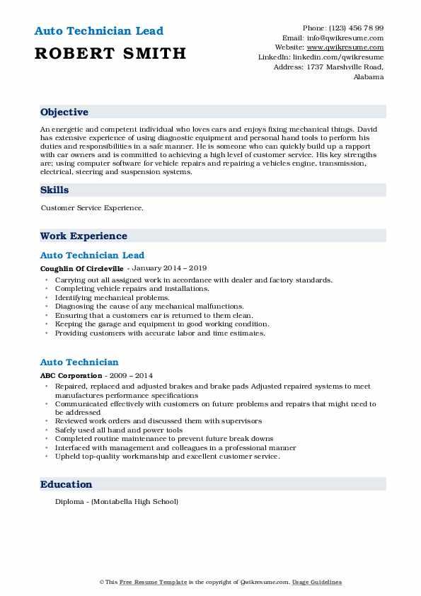 Auto Technician Lead Resume Model