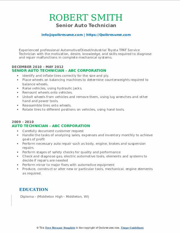 Senior Auto Technician Resume Format