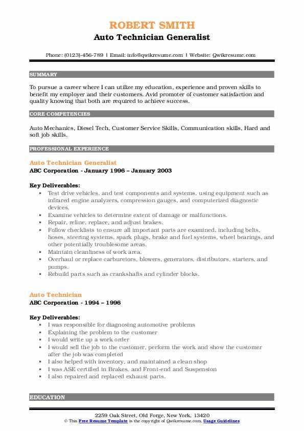 Auto Technician Generalist Resume Template