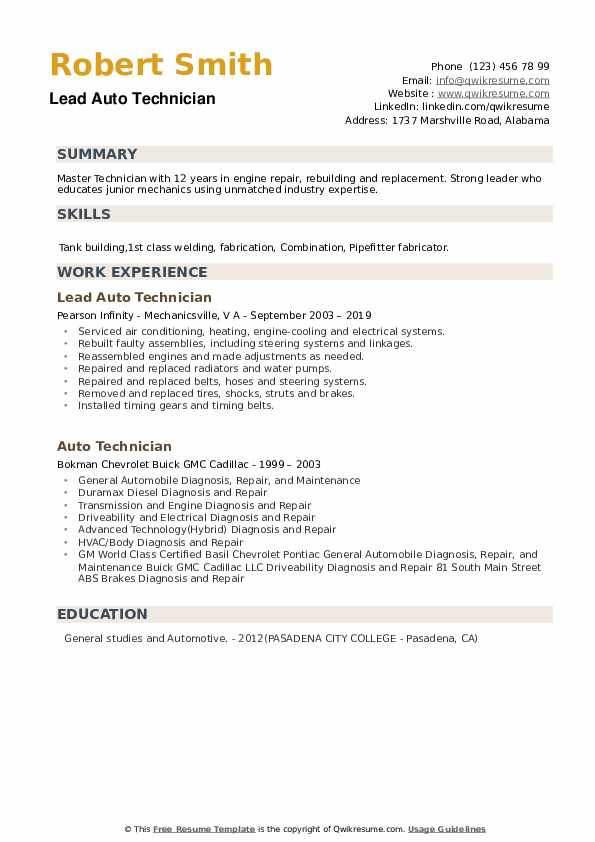 Lead Auto Technician Resume Example