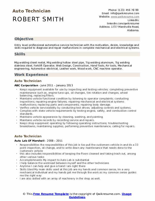 Auto Technician Resume Sample