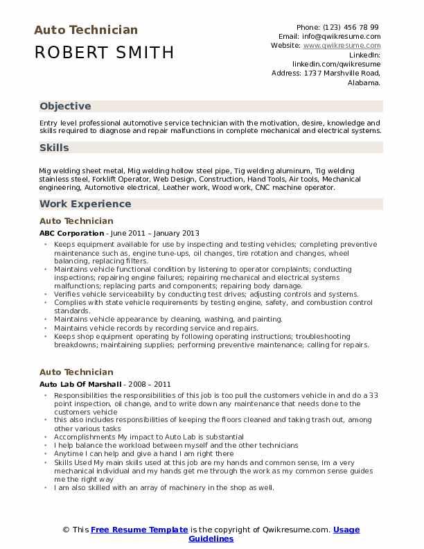auto technician resume samples