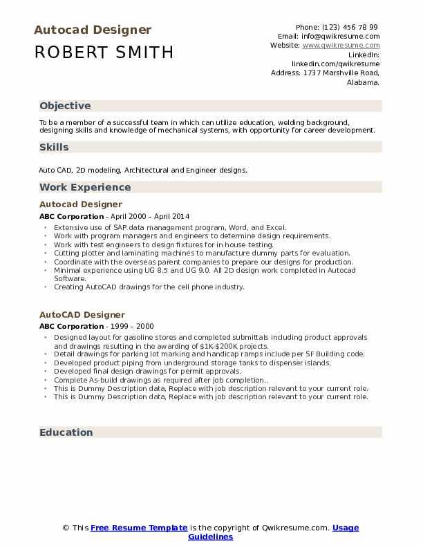 Autocad Designer Resume example