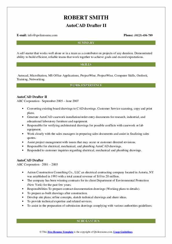 Autocad Drafter Resume example