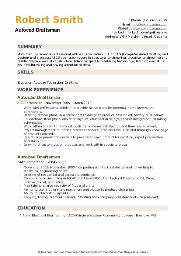 Autocad Draftsman Resume example