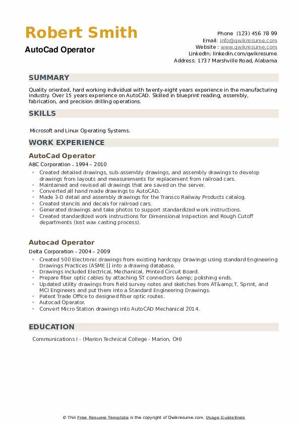 Autocad Operator Resume example