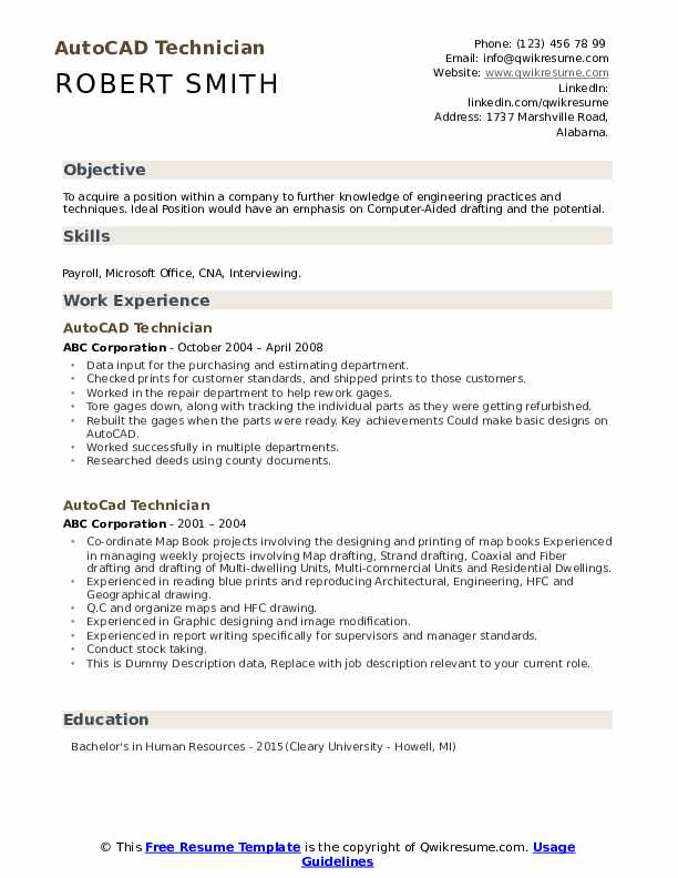 Autocad Technician Resume example
