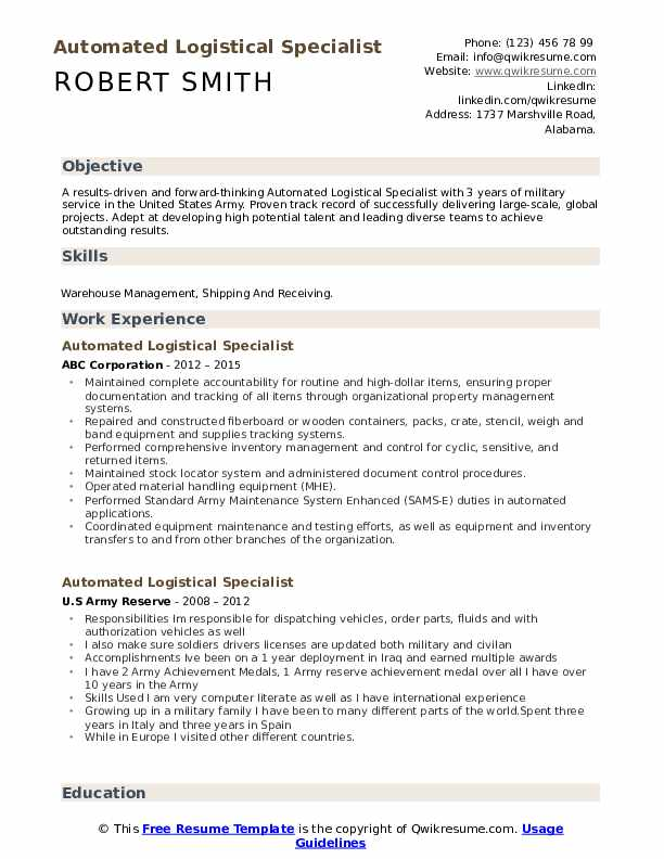 automated logistical specialist resume samples