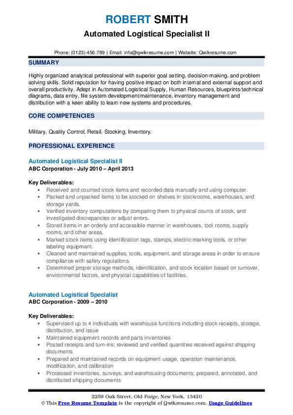 Automated Logistical Specialist Resume Samples | QwikResume