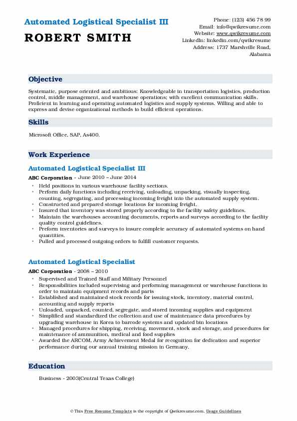 Automated Logistical Specialist Resume Samples Qwikresume