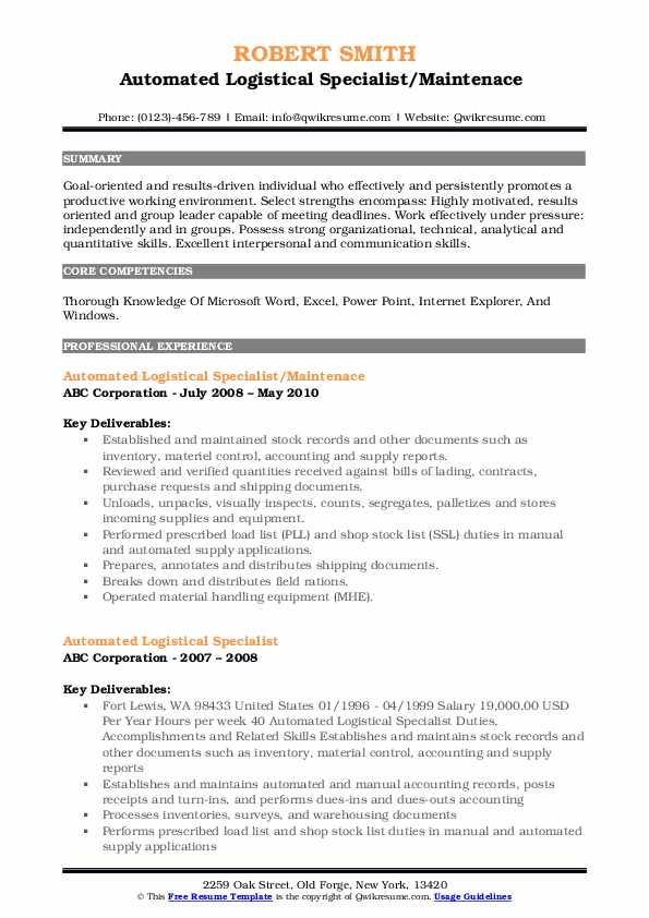 Automated Logistical Specialist/Maintenace  Resume Format