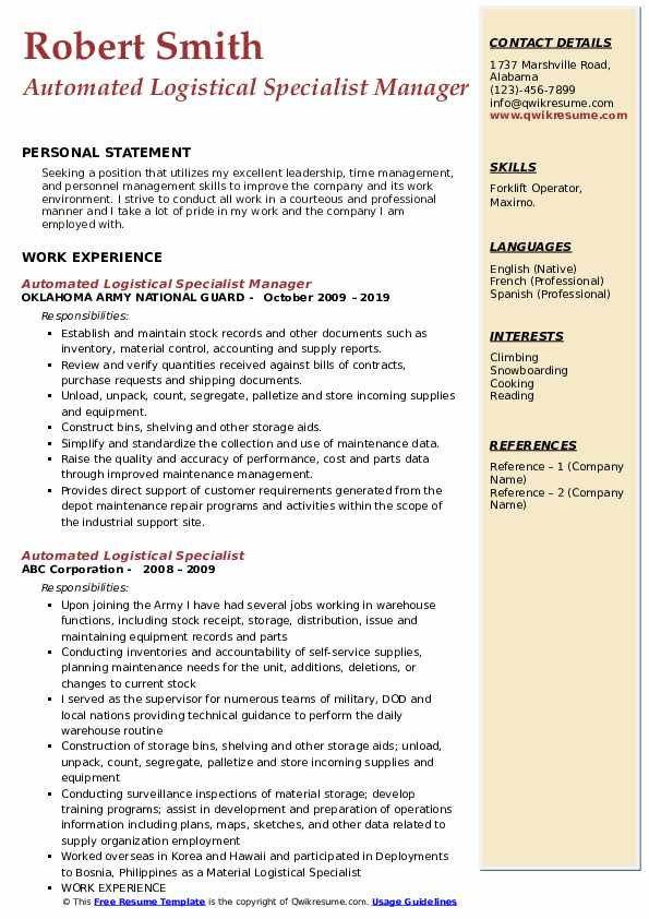 Automated Logistical Specialist Manager Resume Template