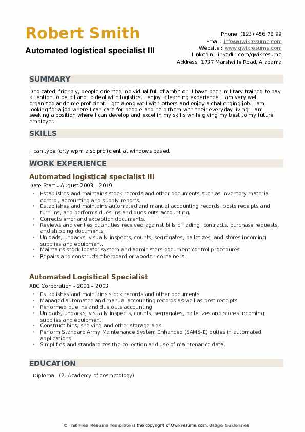Automated logistical specialist III Resume Model