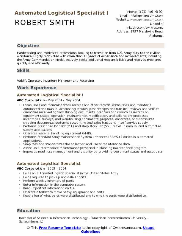 Automated Logistical Specialist I Resume Model