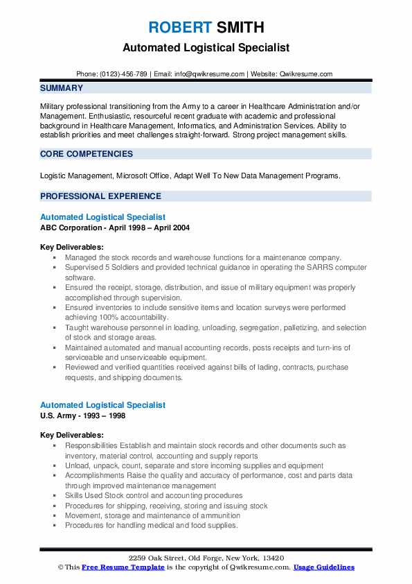 Automated Logistical Specialist Resume example