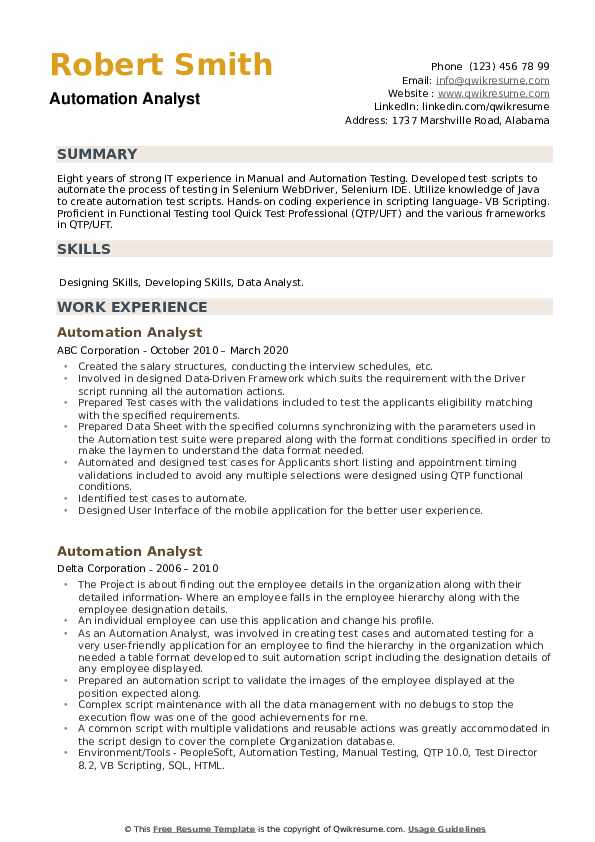 Automation Analyst Resume example