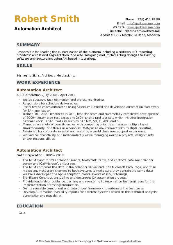Automation Architect Resume example