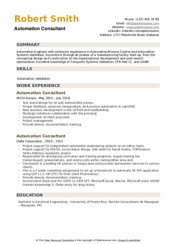 Automation Consultant Resume example