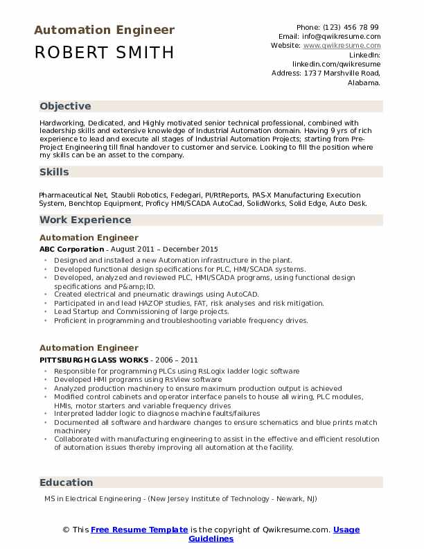 Automation Engineer Resume Sample