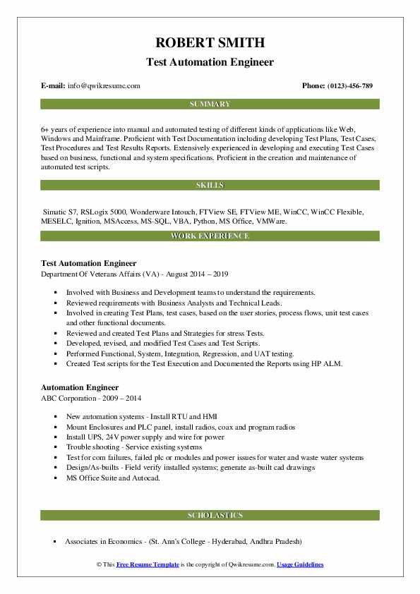 Test Automation Engineer Resume Template