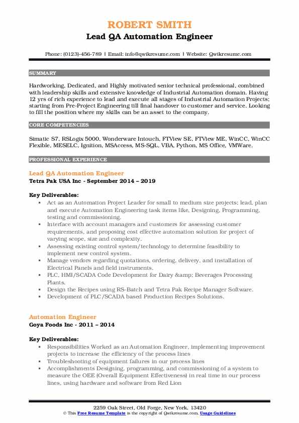 Lead QA Automation Engineer Resume Example