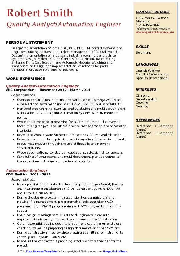Automation Engineer Resume Samples | QwikResume