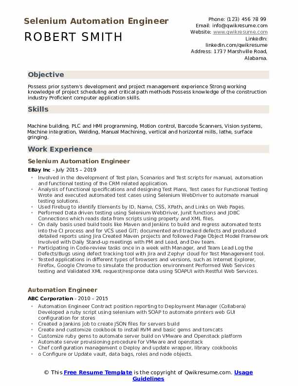 Selenium Automation Engineer Resume Example