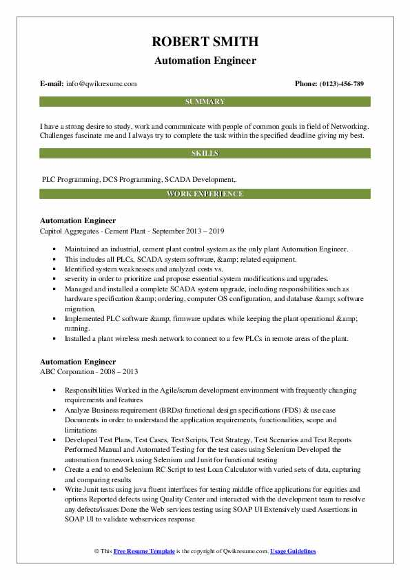 Automation Engineer Resume Example