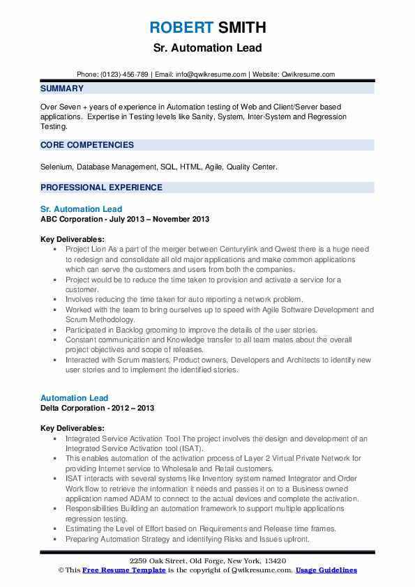automation lead resume samples  qwikresume