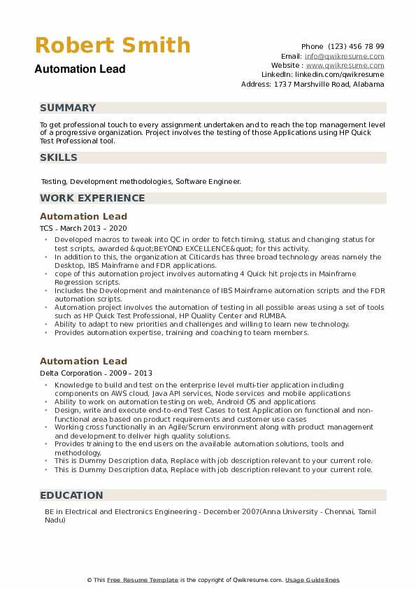Automation Lead Resume example
