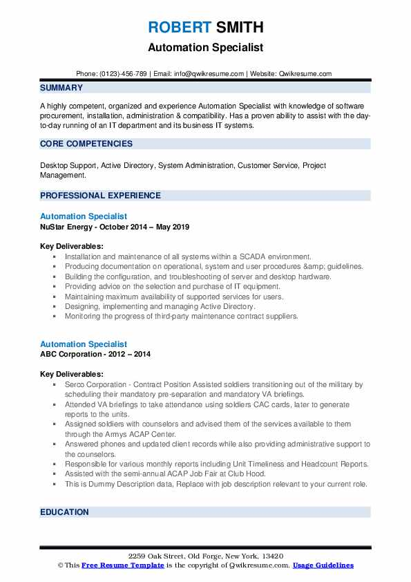 Automation Specialist Resume example
