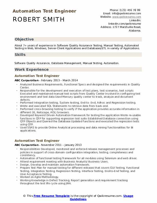 Automation Test Engineer Resume Format
