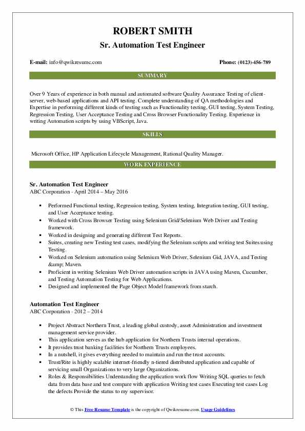 Sr. Automation Test Engineer Resume Sample